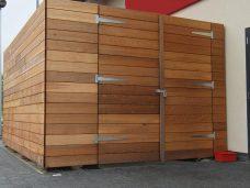 Hardwoord bin store by Bollard Street, UK Street Furniture Specialists