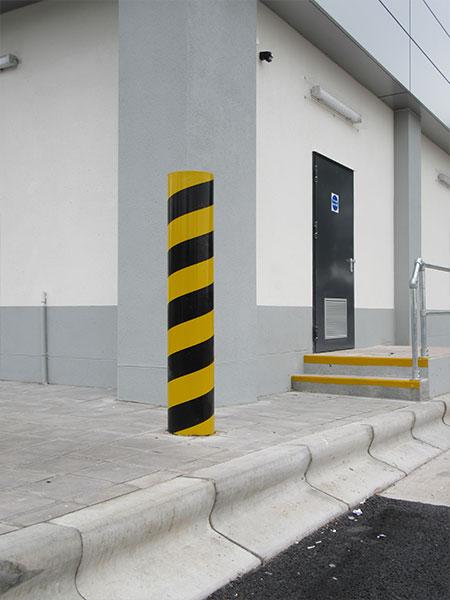 Diagonal banded protection bollard by Bollard Street, UK Street Furniture Specialists