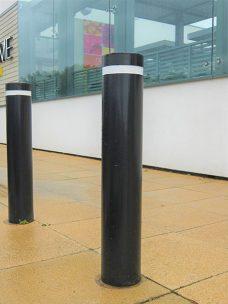 Slim single rebate bollard by Bollard Street, UK Street Furniture Specialists