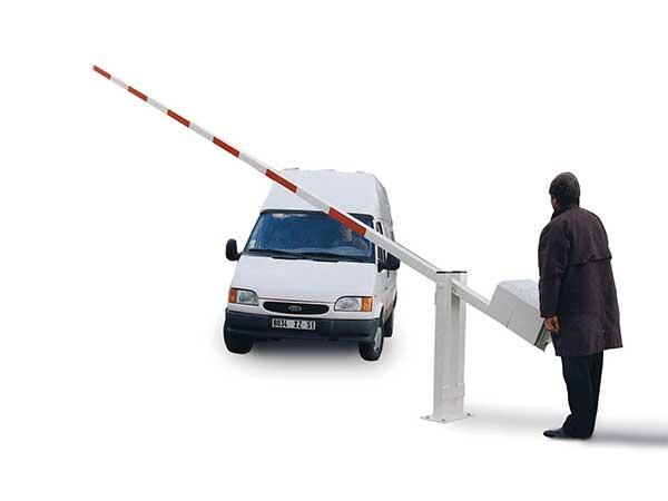 Telescopic boom barrier by Bollard Street, UK Street Furniture Specialists