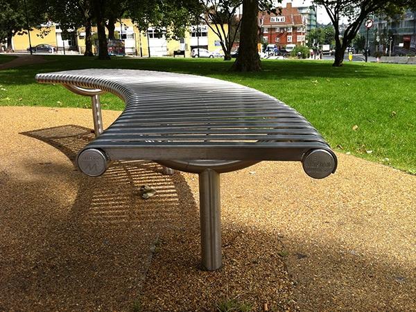 Warwick curved bench by Bollard Street, UK Street Furniture Specialists