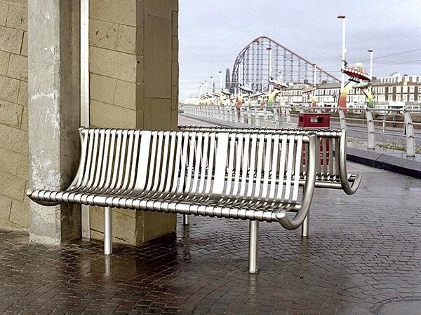 Warwick stainless steel bench by Bollard Street, UK Street Furniture Specialists